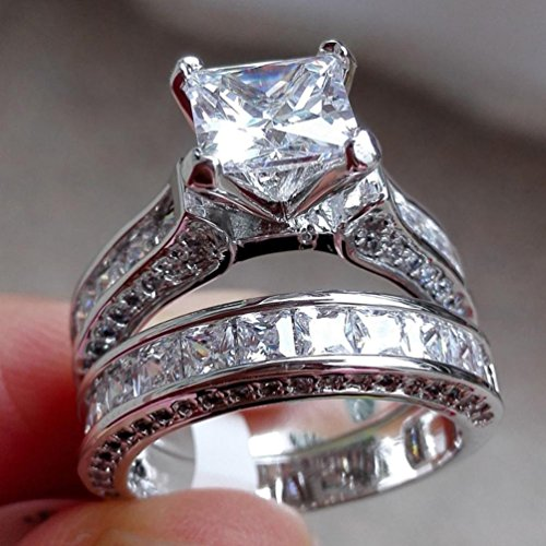 Dkings Women Ring, 2-in-1 Womens Vintage White Diamond Silver Engagement Wedding Band Ring Set (N 1/2, Silver)