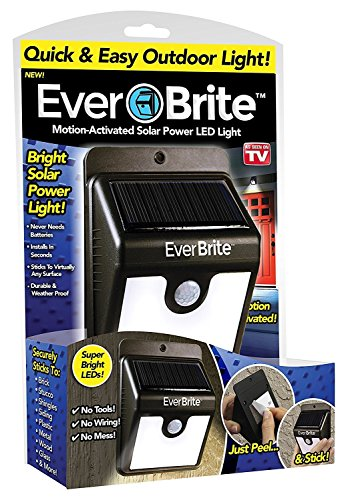 New Ever Brite Motion Activated LED Solar Light- Black