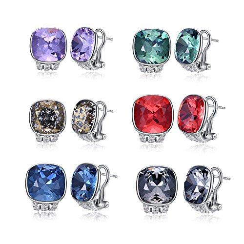 OMZBM S925 Sterling Silber Creolen Luxus Gehobenen Kristall Zirkonia Huggie Ohrringe Multicolor Für Frauen Und Mädchen,J (White Gold-huggies-ohrringe)