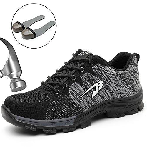 SUADEEX Damen Herren Sicherheitsschuhe Sportlich Trekking Wanderhalbschuhe Stahlkappe Arbeitsschuhe Hiking Schuhe Traillaufschuhe, 05-grau, 39 EU
