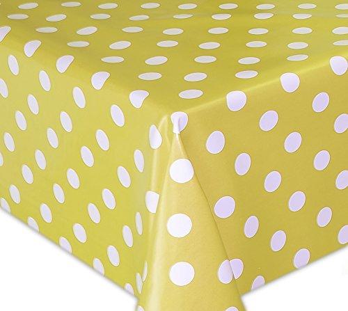 Wachstuch Tischdecke, Gartentischdecke, Eckig Rund Oval, Motiv u. Größe wählbar, (Punkte-Motiv, Weiss-gelb, Oval 140x170)