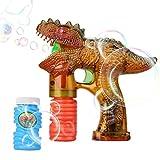 Shinehalo Dinosauro pistola a Bolla Pistola Bubble Shooter Gun con luci a LED per bambini e party, batterie e ricarica extra di bottiglie per esterni e interni-Dinosauro