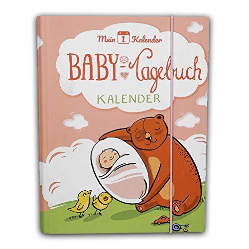 Mein 1. Kalender Baby Tagebuch Babyalbum mit Entwicklungsberater Babyratgeber Geschenk zur Geburt 365 Tipps und Ratschläge A5 Rosa
