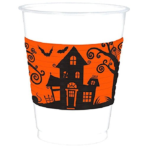 Amscan Frightfully Fancy Halloween Reusable Plastic Cups , Black/Orange, 16 oz by Amscan