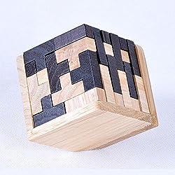 MINGZE Rompecabezas de madera Puzzle Teaser Toy 54 Bloques de Tetris en forma de T Juegos de inteligencia geométrica Rompecabezas de esfera para adultos / niños