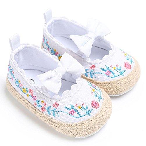 BZLine® Bowknot Dentelle Floral Chaussures de Premier Pas en Tissu Souple - Semelle à pois pour Bébés Filles 0-18Mois Blanc