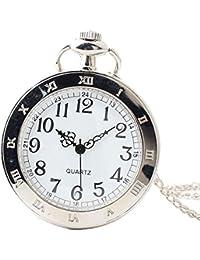 Maybesky Reloj de Bolsillo Descubierto Vintage de línea Blanca con Cadena para Mujeres Caja de Regalo para cumpleaños Aniversario día Nav