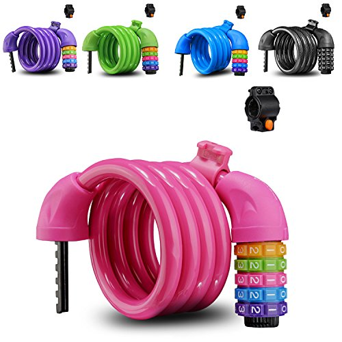 Bunt Fahrradschloss Zahlenschloss, Hohe Sicherheit 5 Stelliges Kabelschloss mit Halterung »Kinder Spiralschloss, 110 cm lang«