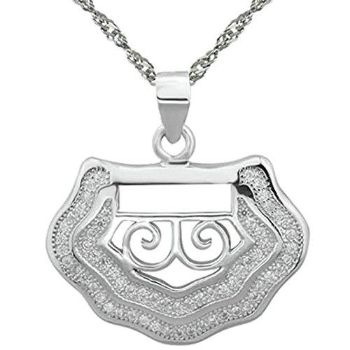 Epinki 925 Sterling Silber Damen Halskette, Glücklich Schloss Form Anhänger Elegant Silberkette Damenkette Weiß 2x2.3 CM mit Zirkonia -
