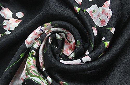 Helan femmes Réel Soie Naturelle 175 X 65 cm Foulards longs Noir Fleurs de cerisier