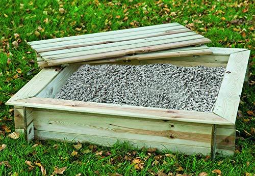 Tuindeco 16.4120 – Sandkasten mit Deckel, 120 x 120 cm