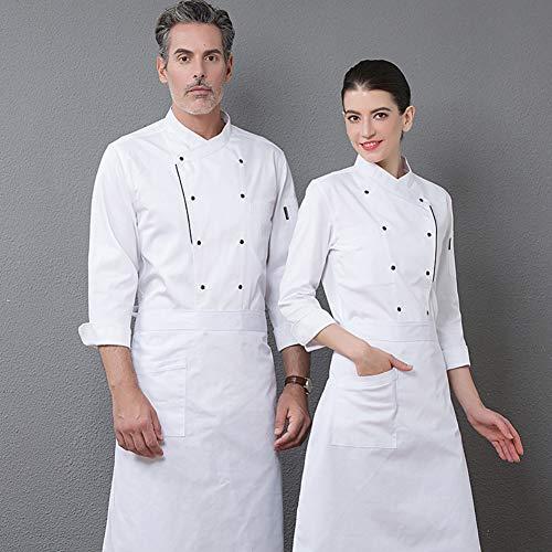 (yimosecoxiang Kochjacke, Kostüm, Doppelreihe, Knöpfe, langärmlig, Restaurant-Hotel, Küchen-Overall rot Xxxl)