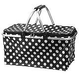 Bestland Faltbar Picknick Korb Tragbar Hitze & Cool Aufbewahrung Einkaufskorb Aluminium Griff (Schwarz)