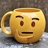 Weird Wolf Emoji Series Thinking Face Ceramic 350ml Coffee Mug(Yellow)