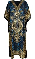 New Ladies Womens Long Kaftans Printed Dress With Waist Tie