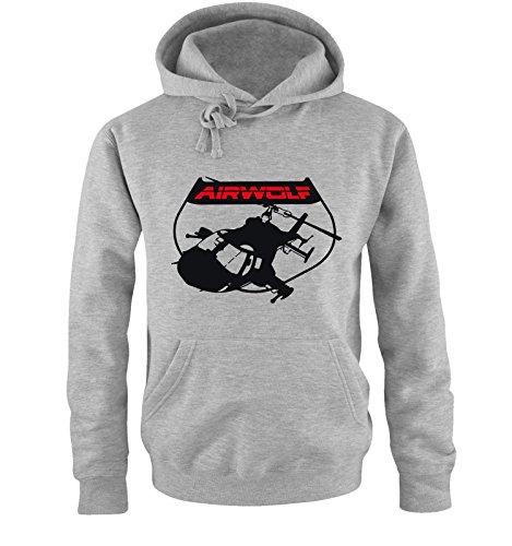 AIRWOLF - LOGO V - Herren Hoodie by Comedy Shirts Grau / Schwarz-Rot