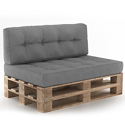 Vicco Palettenkissen Palettensofa Palettenpolster Kissen Sofa Polster Outdoor Indoor Sitz+Rückenkissen Grau