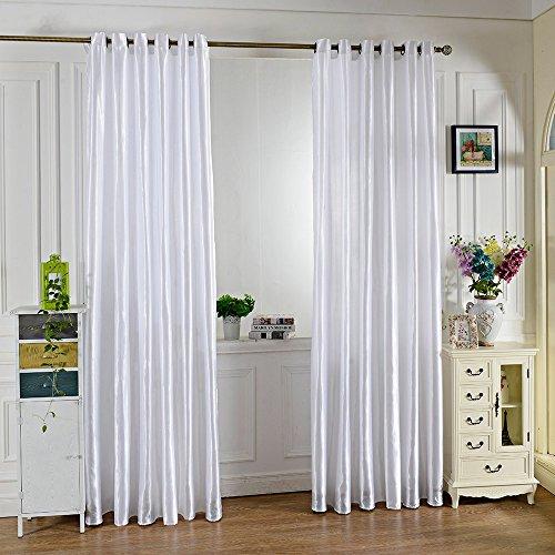 Preisvergleich Produktbild 100x 250cm Pure Color Tülle Ring Top Bildschirme Sheer Fenster Balkon Vorhang Panels Tuch Verdunklungsrollo Fenster Behang weiß