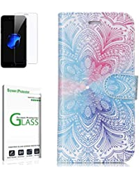 Penlicraft Galaxy S6 Edge Hülle [mit Panzerglas],Galaxy S6 Edge Handyhülle, PU Leder Distachable Starke Magneten Fall [separat verwendet] Handyhüllen für Samsung Galaxy S6 Edge(Blaue rosa Blume)