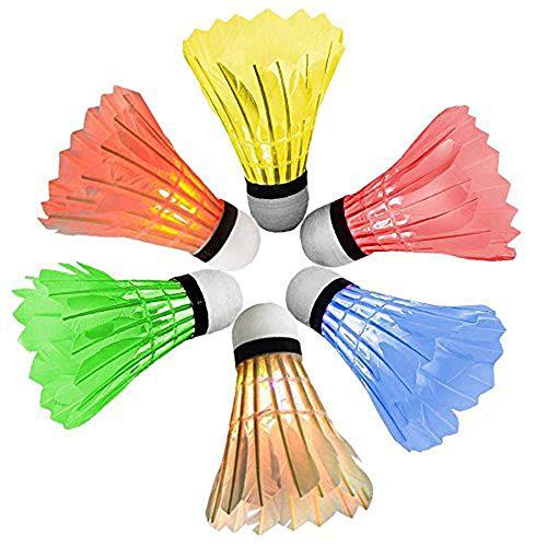sohapy 6Stück bunte LED Badminton Set, Federball Dark Night Feather Birdies Beleuchtung für Park, Outdoor, Indoor, Sport, Strand (Badminton Feather Federball)