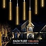 Yukio Baumarkt - LEDs Meteorschauer Lichterkette 20cm/30cm Wasserdichte Lichterkette für Draussen Innenraum Party Weihnachten Dekoration (Gelb-20cm)