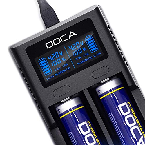 DOCA Akku Ladegerät LCD-Anzeige Universelles Intelligentes Wiederaufladbares Schnelles Akkuladegerät für AA AAA-Li-Ion-Akkus IMR 18650 21700 26650 14500 18500 10440 18350 17670 NI-MH-NI-Cd