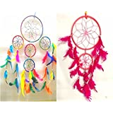 SGN Two Multi Dream Catcher Wall Hanging Pack (One Multi Four Circle Dream Catcher & One Pink Two Circle Dream Catcher) - Attract Positive Dreams & Positive Thinking (For Home / Office / Institute / Shop / Hostel / PG / Hotels / Restaurants) - Bes
