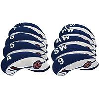 Favport Cubiertas para la cabeza del club de golf Cubiertas protectoras de hierro forjado con bandera blanca y azul de Reino Unido Neopreno (Blue)