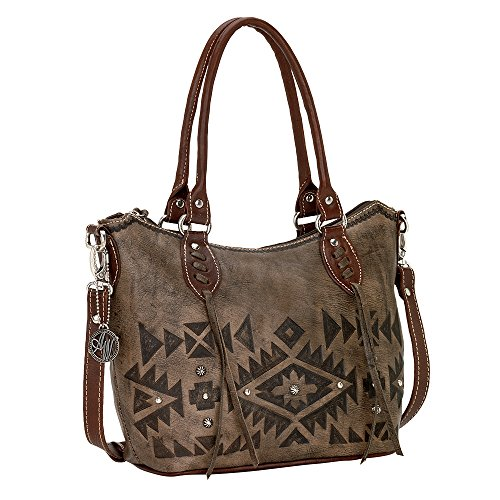 American West Convertible Zip top Bucket Tote Distressed Charcoal Brown / Chestnut Brown