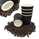 500 x Fiesta Hot Cup Ripple Wand schwarz 8oz Einweg Take Away Travel