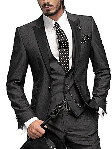 3pc Anzug Einreiher Slim Fit Kleid Anzug Jacken Weste & Hose (Kleid Jacke Männer)