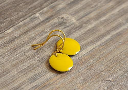 feine kleine Emaille Ohrringe in gelb goldfarben