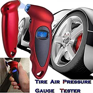 TECHTEST Plastic Tire Pressure Gauge for Car (Red, 16.4 x 9.8 x 1.8 cm)