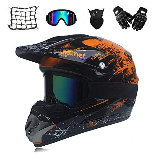 MRDEAR Motocross Helm Herren Orange und Schwarz, Motorrad Crosshelm mit Visier Brille Handschuhe Maske Motorrad Netz, Fullface MTB Helm Motorradhelm Mopedhelm für ATV Downhill Sicherheit Schutz,M