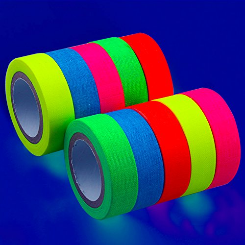 Fluoreszierende Tape, UV-Schwarzlicht fluoreszierend Tape/Neon Gaffer Tape (10 Block /5colors)(15mm x 5 - Leuchtende Farbe Wand