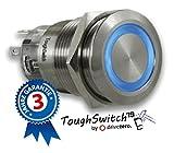 .drivezero. ToughSwitch '19 – Schalter Edelstahl (bis 230V / 5A) mit LED-Leuchtring Blau 12V, staub- und wasserdicht (IP67)
