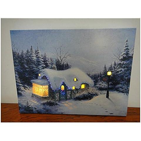 XYXY Paesaggio di Natale sorpresa tela parete arte pronto ad appendere muro arte pittura con luce LED . 40*50