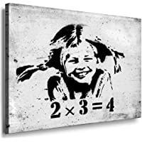 "Fotoleinwand24 - Banksy Graffiti Art Pipi 2x3=4"" / AA0117 / Bild auf Keilrahmen / Schwarz-Weiß / 120x80 cm"