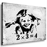 Fotoleinwand24 - Banksy Graffiti Art '2x3=4' / AA0117 / Bild auf Keilrahmen / Schwarz-Weiß / 60x40 cm