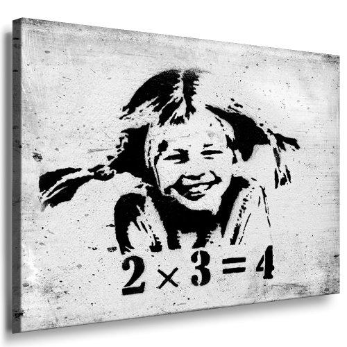 Fotoleinwand24 - Banksy Graffiti / AA0117 / Bild auf Keilrahmen / Schwarz-Weiß / 100x70 cm