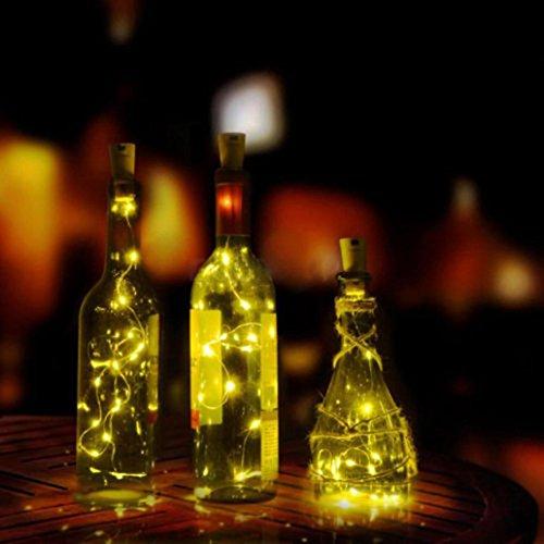 Jar-küche Dekor (8LED Wein Flasche Kork Gestalten Licht HARRYSTORE Kupfer Draht Bunt Sternenklar Licht Hochzeit Dekor (Warmweiß))