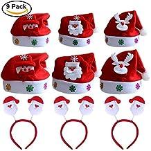9 pack Cappello Babbo Natale Cappellino a Taglia Unica per Adulti 3936721185b7