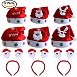 9 pack Cappello Babbo Natale Cappellino a Taglia Unica per Adulti, Festa di Natale Natale Fasce