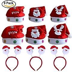 Idea Regalo - 9 pack Cappello Babbo Natale Cappellino a Taglia Unica per Adulti, Festa di Natale Natale Fasce