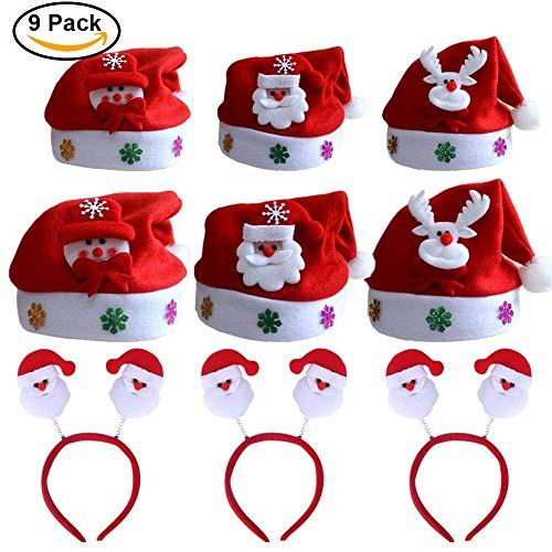 POAO 9 Teile / Satz 2018 Personalisierte Weihnachten Rentier Schneemann Hüte und Weihnachtsmann Stirnbänder für Kinder Erwachsene Weihnachten Kostüm Dekor Geschenk