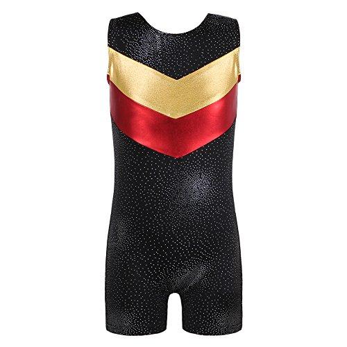 DAXIANG Einteilige Shining V Stripes Gymnastik Athletic Trikot für Kleine Mädchen(Black,150(9-10Y))