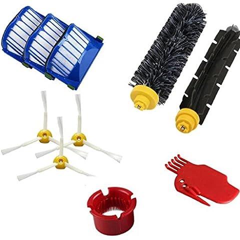 Robort Vacuum Cleaner, Lanowo Cambiar kit para iRobot Roomba 600 610 620 650 Serie de vacío Kit de sustitución de piezas de accesorios, incluyendo Cleaner Filter Pack, paquete de cepillo de cerda, flexible batidor de cepillo, herramienta de limpieza paquete, paquete de cepillo de