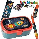 Neu: 3-tlg. Schule-Set * Rakete * für die Grundschule   mit Kugelschreiber + Brotdose + Lesezeichen   Kinder Einschulung Astronaut Weltraum Lunchbox Stift