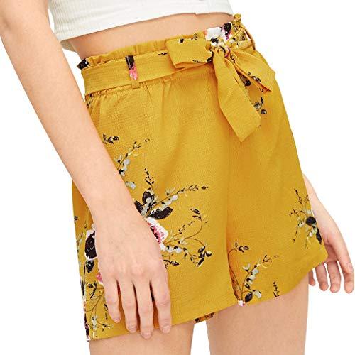 Streifen Verband Taschen breite Bein Hosen der Art und Weisefrauen beiläufige elastische Taillen Kurzschlüsse -