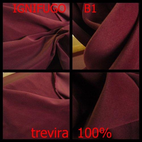 tessuto acustico insonorizzante Trevira 100% ignifugo B1 colore bordo tende per finestre porte